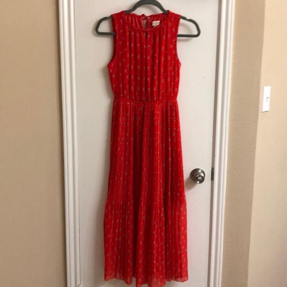 Maison Jules Dresses & Skirts - Romantic red pleated midi dress